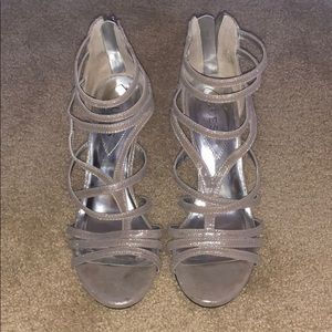 Silver Guess Heels Worn Once